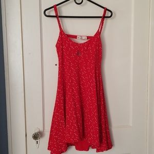 Red dress with small white hearts